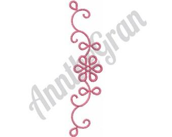 Swirling Flower Border - Machine Embroidery Design