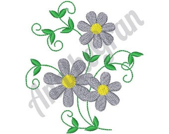Flowers - Machine Embroidery Design, Daisy Vine - Machine Embroidery Design