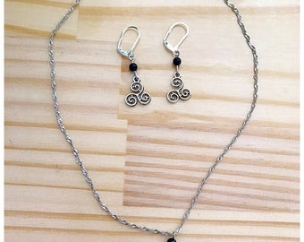 Set earrings and necklace triskel with Onyx beads