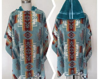 The Beach Poncho made with Pendleton fabric