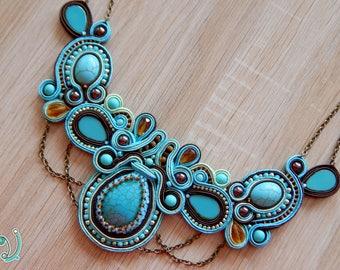Turquise statement necklace , Soutache necklace , OOAK necklace , Soutache jewelry