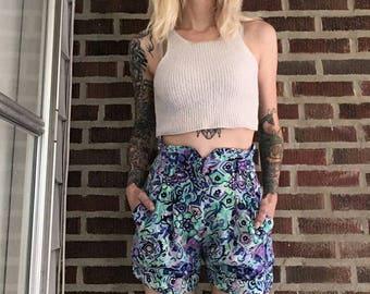 Paisley Princess High Waist Shorts small