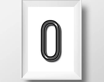 Custom Typography Retro Poster | Letter O Retro Typography | Personlised Monochrome | Digital Download | Minimalist | Alphabet | Home Decor