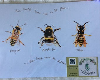 A4 print of original watercolour painting, bees