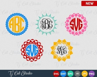 Circle Monogram Frames SVG Circle Monogram svg, svg files for Cricut, cut files for Silhouette and other Vinyl Cutters Monogram Frame svg