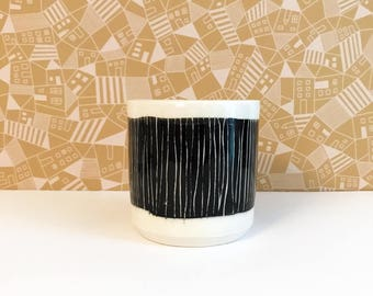 Black and White Striped Tumbler