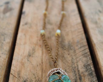 Turquoise & Shell Macrame Necklace