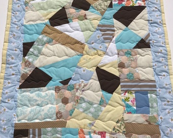 baby quilt, baby blanket, handmade quilt, cot quilt, baby shower, christening, birthday, blue, brown, yellow, peach, free shipping