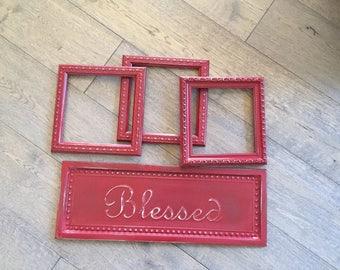 Deep red frames & Blessed sign