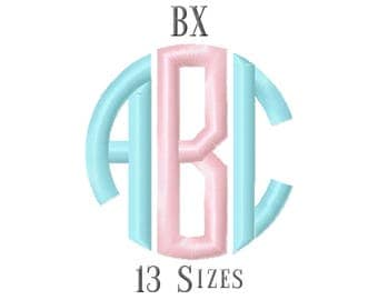 13 SIZE BX Fonts Circle Monogram Embroidery Fonts Embroidery Designs Embroidery Alphabets Letters Monogram Fonts - Instant Download