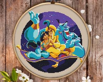 Aladdin Cross Stitch Pattern for Instant Download - 005| Counted Cross Stitch| Modern Cross Stitch| Nice Cross Stitch| Embroidery Hoop Art