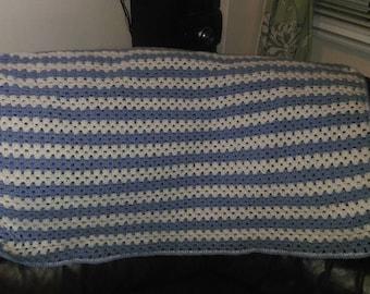 Crochet stripey baby blanket