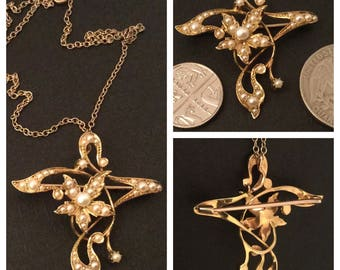 PERFECTION IN EDWARDIAN 'art nouveau' a 15ct gold pearl pendant circa 1902 - on 9ct trace chain