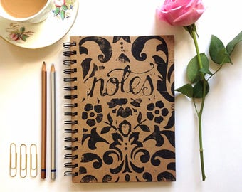 Hand printed floral notebook journal stationary gift