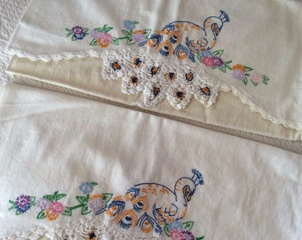 Embroderied standard size pillow case SETS