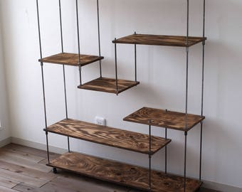 "wood iron shelf ""M"""