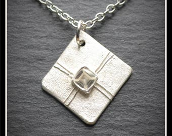 Silver Present Lid CZ Pendant - Silver Precious Metal Clay (PMC), Handmade, Necklace - (Product Code: ACM056-17)