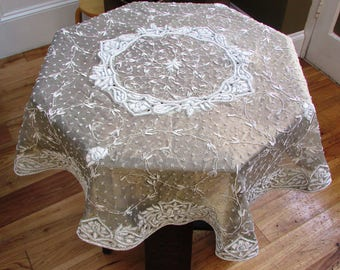 Heavily Embroidered Gold Organza Round Tablecloth