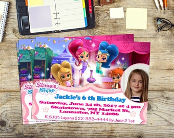 Shimmer and Shine invite, Shimmer and Shine invitation, Shimmer and Shine Birthday, Personalized, Printable, Digital, Thank you card free