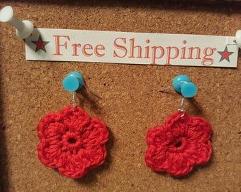 Red Crochet Flower French Hook Earrings french hook earrings red flower earrings free shipping crochet earrings crochet earrings crochet