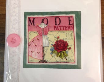 Hand Crafted Quilted Stitched Cards Birthday Thank You Thinking Of You Vintage Mode