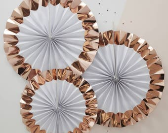 White & Rose Gold Paper Fans, Hen Party Decor, Birthday Party Decor, Rose Gold Wedding Decor, Baby Shower Decor