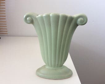Pottery Vintage Small Green Vase