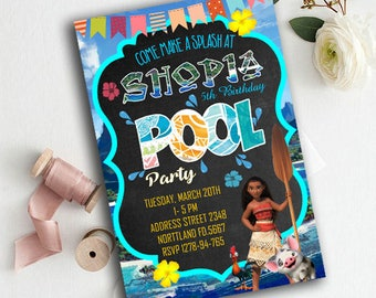 Moana Invitation, Moana Birthday Invitation, Moana Pool Party Invitation, Moana Birthday, Moana party, moana Printable, Moana Chalkboard