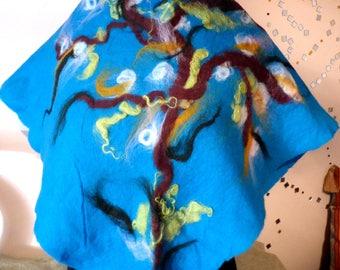 Felt cloth tree sky blue