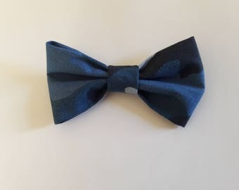 Blue Camouflage Hair Bow Tie Collar