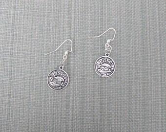 """Zodiac Earrings:  Simple Elegant """"Pisces"""" - Silver"""