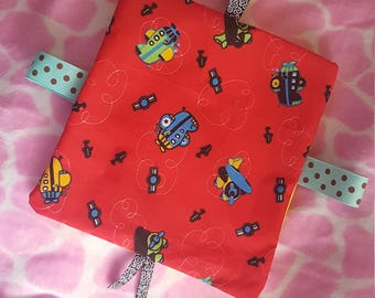 Boys red airplane taggy blanket
