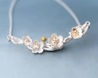Silver Sakura Branch Necklace