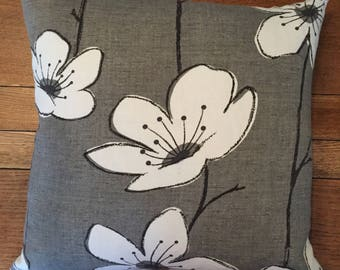 Grey Floral Cushion/Pillow Cover