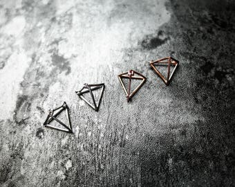 Geometric triangle pyramid metallic earrings, 925 sterling silver, Minimalist earrings, Rose Gold Plated