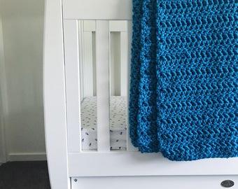 100% Handmade Crochet Throw Rug Electric Blue