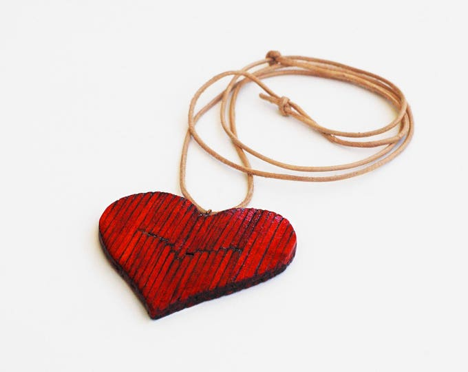 Handmade Red Heart Necklace Jewelry by Matchsticks