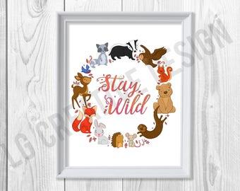 Stay Wild Woodland Illustration