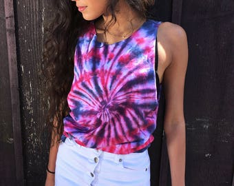 Fourth Of July Tie Dye Women's Muscle Tank 4th of July Shirt Patriotic Tshirt «« 000POE «