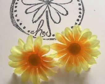 Yellow/orange Daisy Earrings