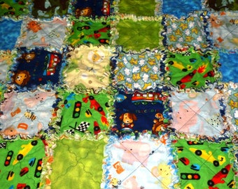 Handmade Flannel Baby Rag Quilt in Multiple Prints