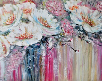 Flower shower. Original oil painting on canvas, Oil painting, abstraction, White flower, impasto art on canvas by Alekseenko 30x20 inches
