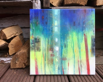 abstract painting, green, blue, original, modern abstract art, acryl, canvas, wall decor, small, gift
