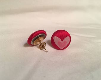 Heart Fabric Button Stud Earring