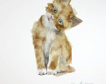 ORIGINAL watercolor painting, Cat watercolor, cat painting, Ginger kitten painting, Baby Nursery, Wall Art, Wall Decoration, Kitten painting