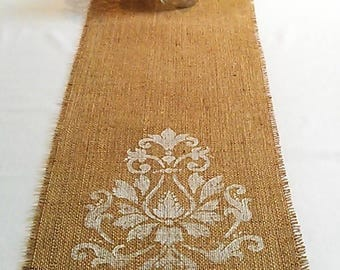Hand Stencilled Coffee Sack Hessian Table Runner