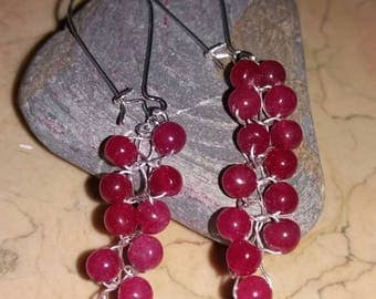 Natural RUBY 925 Silver earrings with rhodium-plated on raw