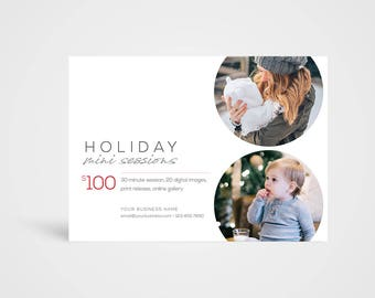 Holiday Mini Sessions Template - Instant Download Photoshop Template, Photographer's Marketing Board
