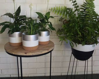 Hand painted indoor plant pot in white with silver stripe and cork base.