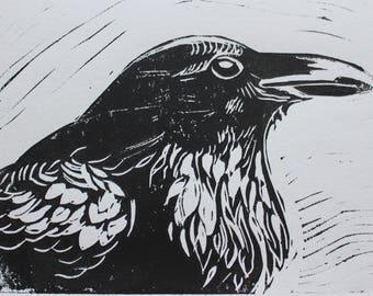American Crow Block Linoleum Block Print